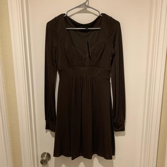 BCBGMaxAzria Dresses & Skirts - BCBGMaxAzria Brown Long Sleeve Scoop Dress NWT